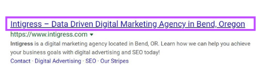 Example of a Title Tag on the Google search engine results page.