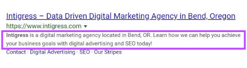 Meta Description Example on Google Search Engine Results Page