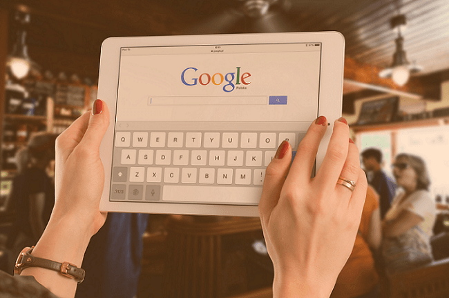 Digital Advertising Services_Google Search Home Screen on Tablet