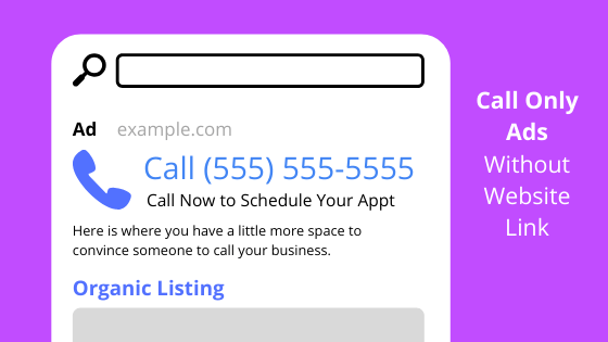 Sample of a Call Ad without the new visit website link in use.