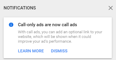 notification in Google Ads: call-only ads update to call ads