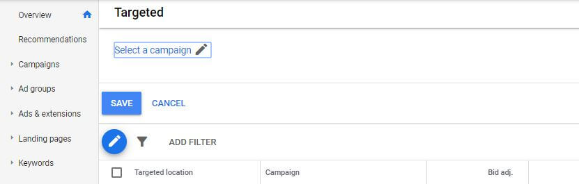 Screenshot of location targeting tab in Google Ads