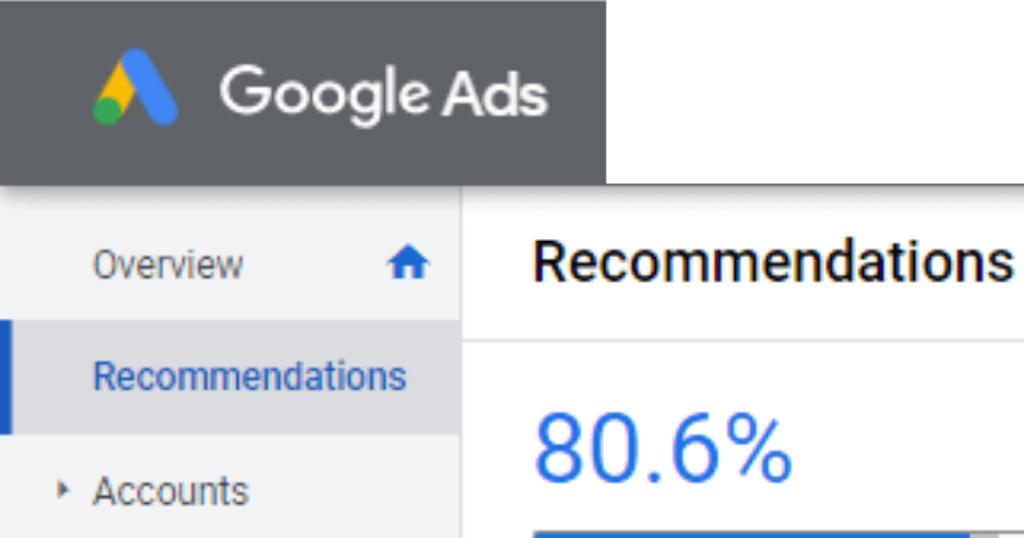 Google Ads Optimization Score Example Screenshot