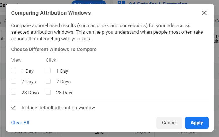 Facebook Attribution Windows