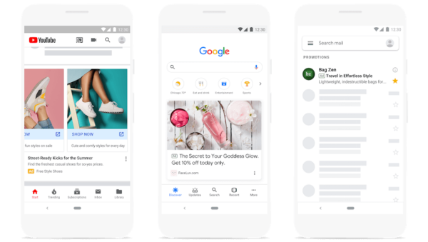 Google Discovery campaigns ad examples from Google