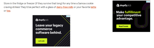 Display campaign ad examples on website