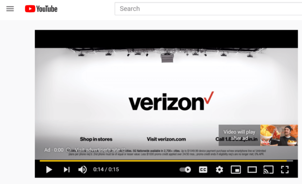 Video campaign ad example on YouTube