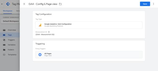 Google Tag Manager Screenshot - Google Analytics 4 Tag Configuration