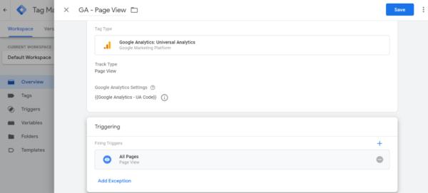 Google Analytics Page View Tag Screenshot from Google Tag Manager - Intigress