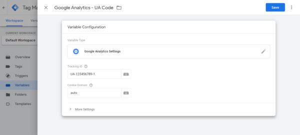 Google Tag Manager Screenshot of Google Analytics UA Code - Intigress