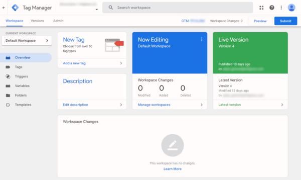 Screenshot of Google Tag Manager Dashboard