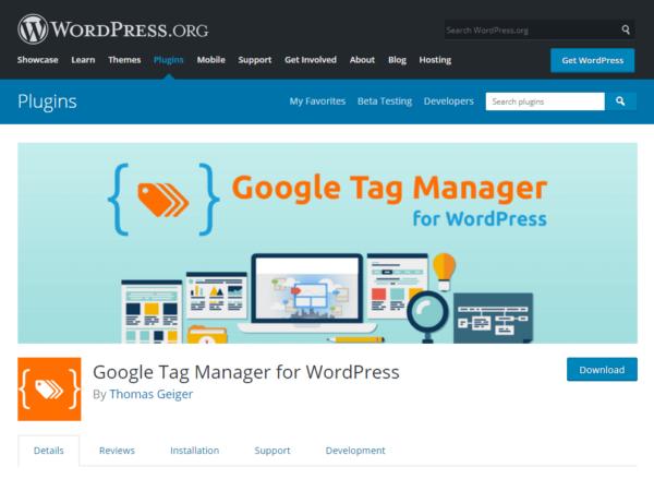 Screenshot of Google Tag Manager for WordPress Plugin