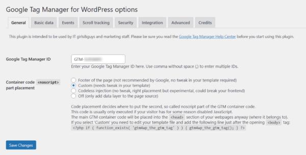 Screenshot of Google Tag Manager for WordPress Plugin Settings