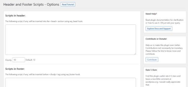 Screenshot of the Headers & Footers WordPress Plugin