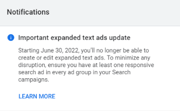 responsive search ad notification